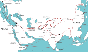 The Silk Road in the 1st century. Wikipedia